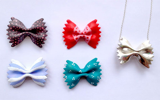 Bow Tie Pasta Necklace by Diana Eng.